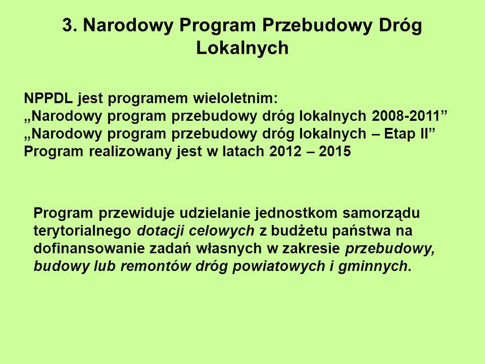 3. Narodowy Program Przebudowy Dróg Lokalnych NPPDL jest programem wieloletnim: Narodowy program przebudowy dróg lokalnych 2008-2011 Narodowy program