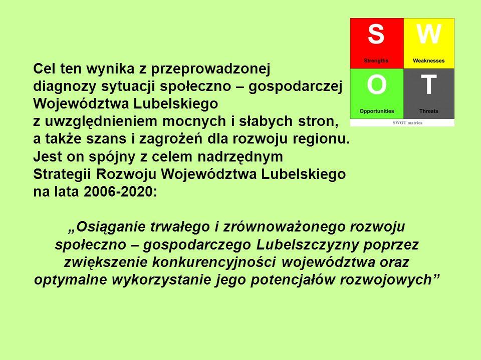 Cel ten wynika z przeprowadzonej diagnozy sytuacji społeczno – gospodarczej Województwa Lubelskiego z uwzględnieniem mocnych i słabych stron, a także
