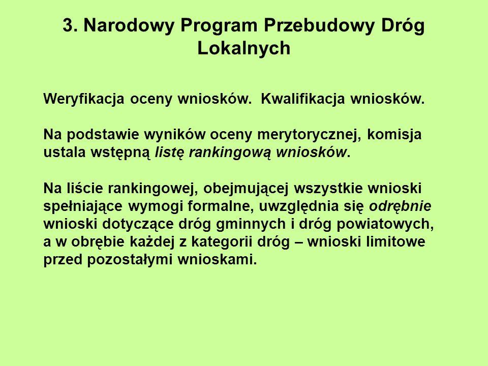 3. Narodowy Program Przebudowy Dróg Lokalnych Weryfikacja oceny wniosków. Kwalifikacja wniosków. Na podstawie wyników oceny merytorycznej, komisja ust