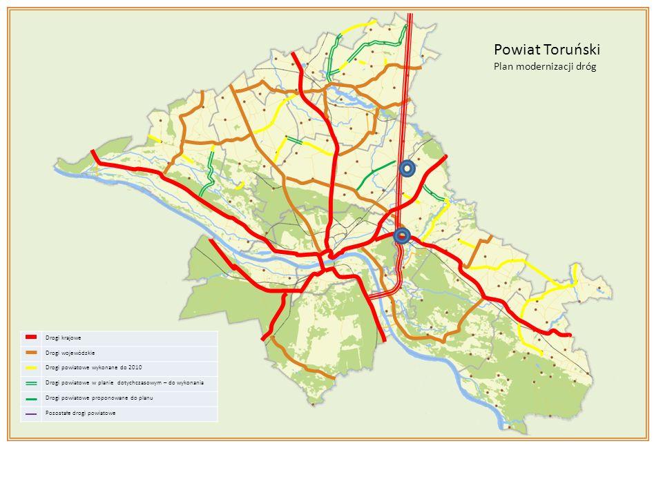 Drogi krajowe Drogi wojewódzkie Drogi powiatowe wykonane do 2010 Drogi powiatowe w planie dotychczasowym – do wykonania Drogi powiatowe proponowane do