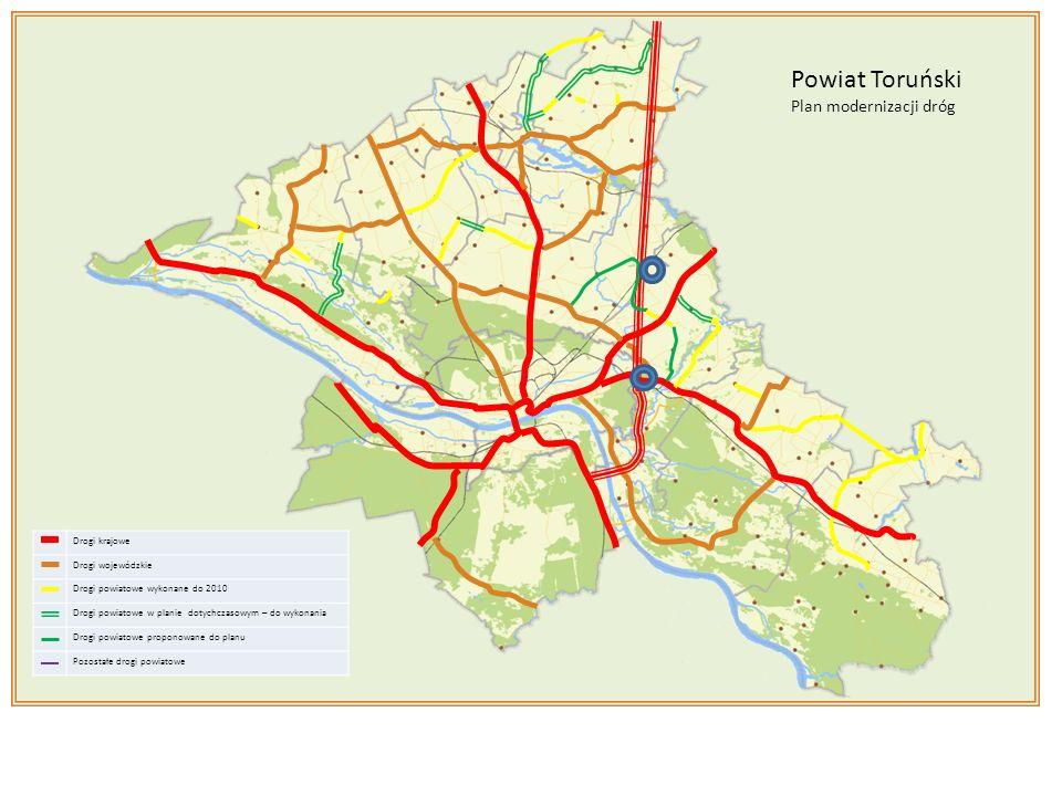 Drogi krajowe Drogi wojewódzkie Drogi powiatowe wykonane do 2010 Drogi powiatowe w planie dotychczasowym – do wykonania Drogi powiatowe proponowane do planu Pozostałe drogi powiatowe Powiat Toruński Plan modernizacji dróg