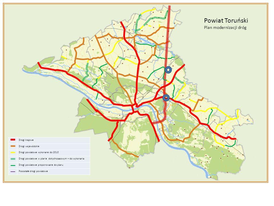 Drogi krajowe Drogi wojewódzkie Drogi powiatowe wykonane do 2010 Drogi powiatowe w planie dotychczasowym – do wykonania Drogi powiatowe proponowane do planu Pozostałe drogi powiatowe Powiat Toruński Plan modernizacji dróg zał.