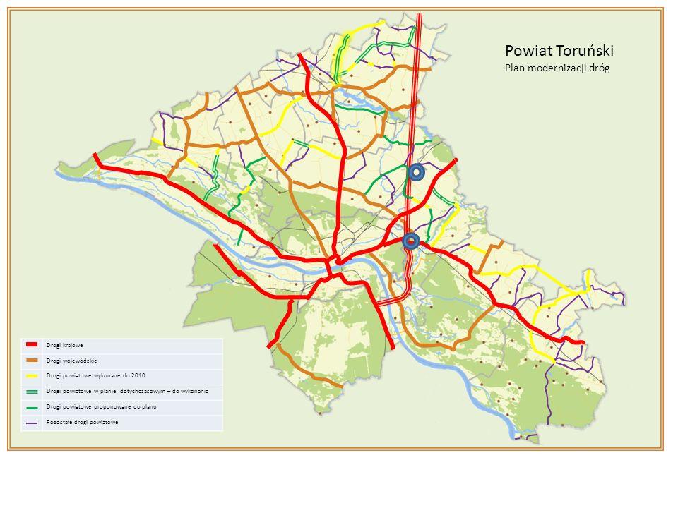 Drogi krajowe Drogi wojewódzkie Drogi powiatowe wykonane do 2010 Drogi powiatowe w planie dotychczasowym – do wykonania Drogi powiatowe w proponowane do planu Pozostałe drogi powiatowe Powiat Toruński Plan modernizacji dróg