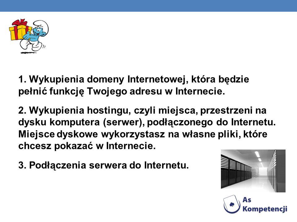 1. Wykupienia domeny Internetowej, która będzie pełnić funkcję Twojego adresu w Internecie.