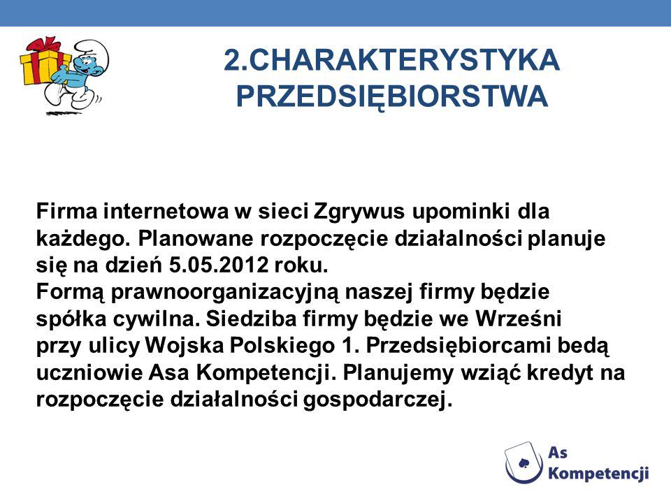 2.CHARAKTERYSTYKA PRZEDSIĘBIORSTWA Firma internetowa w sieci Zgrywus upominki dla każdego.