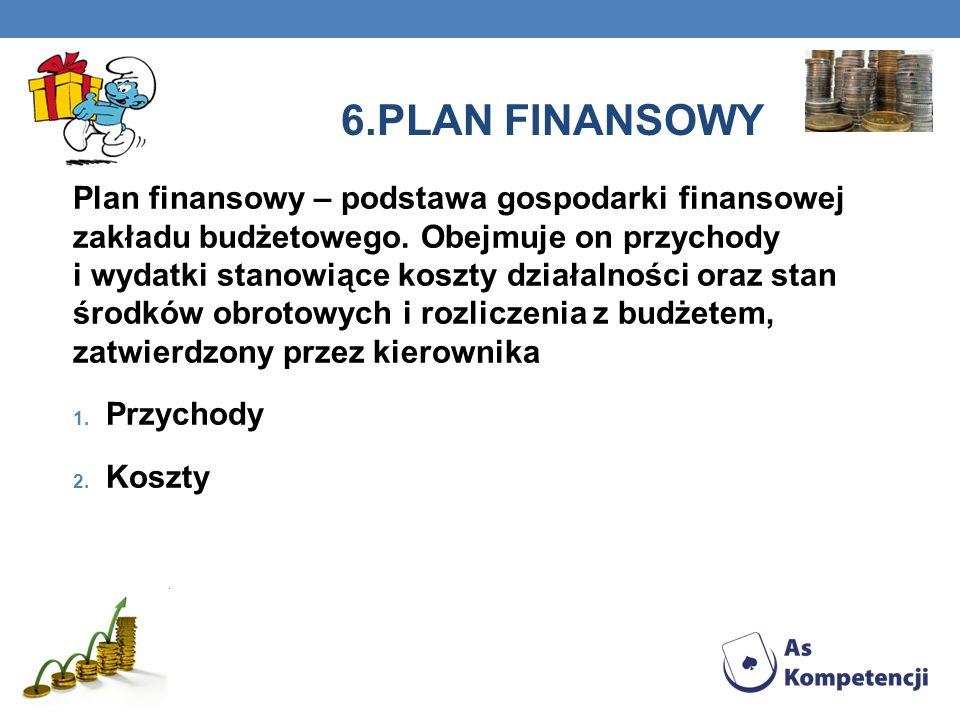6.PLAN FINANSOWY Plan finansowy – podstawa gospodarki finansowej zakładu budżetowego.