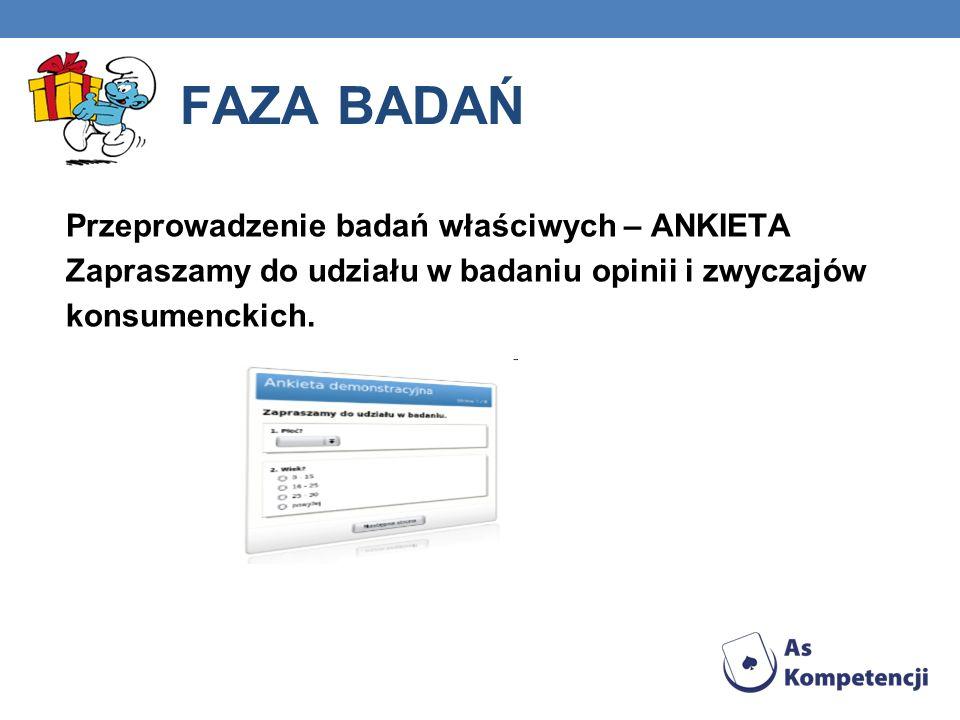 FAZA BADAŃ Przeprowadzenie badań właściwych – ANKIETA Zapraszamy do udziału w badaniu opinii i zwyczajów konsumenckich.