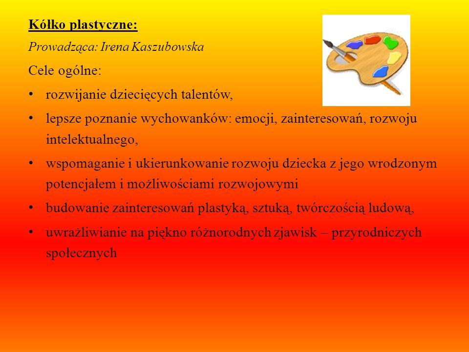 Wspieranie rozwoju dzieci uzdolnionych: Kółko dla dzieci zdolnych: Prowadząca: Ewelina Chmielewska Cele ogólne: wzbogacanie słownika dziecka, zachęcan