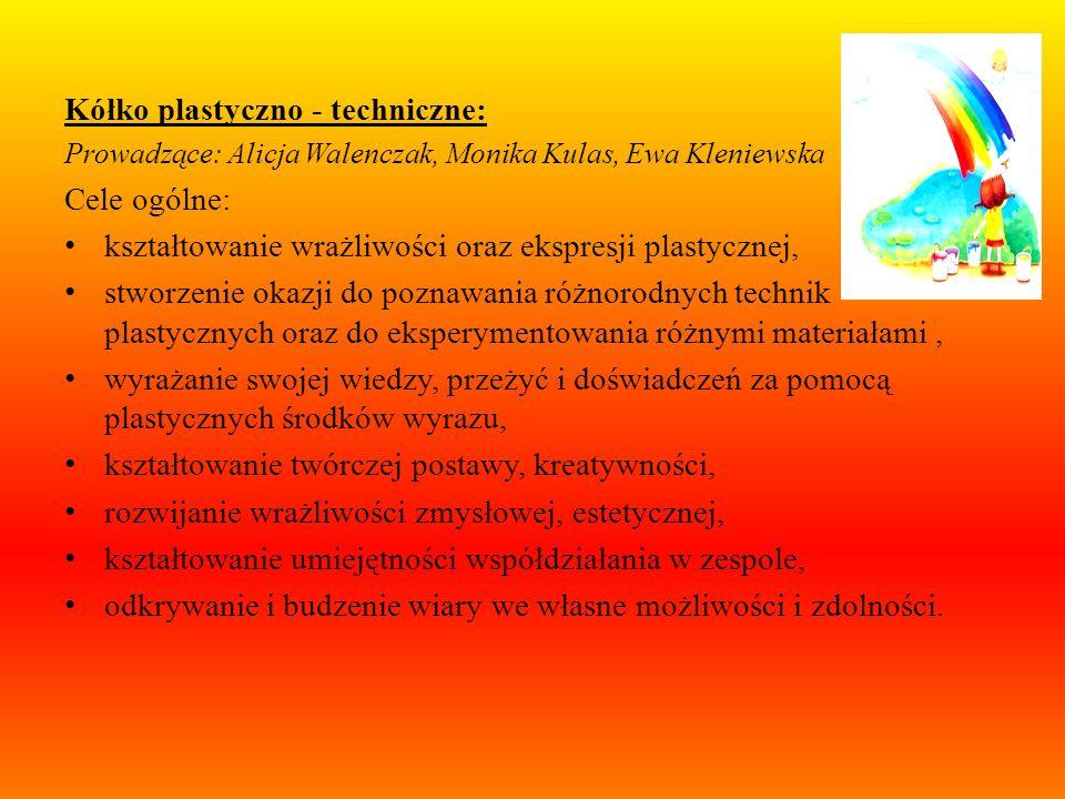 Kółko plastyczne: Prowadząca: Irena Kaszubowska Cele ogólne: rozwijanie dziecięcych talentów, lepsze poznanie wychowanków: emocji, zainteresowań, rozw
