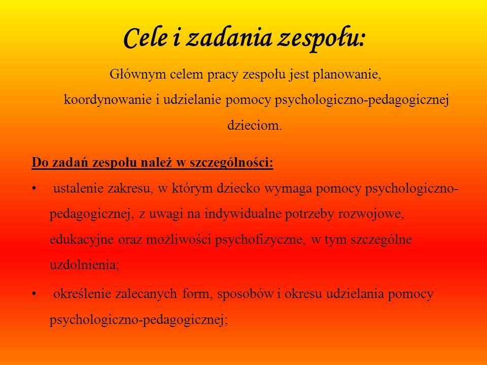Zespół ds. pomocy psychologiczno - pedagogicznej Wioleta Pora Monika Kulas Małgorzata Dolna Beata Lewandowska, (w zastępstwie) Katarzyna Wesołowska -