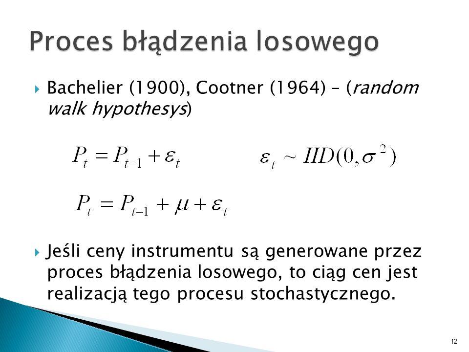 Bachelier (1900), Cootner (1964) – (random walk hypothesys) Jeśli ceny instrumentu są generowane przez proces błądzenia losowego, to ciąg cen jest rea