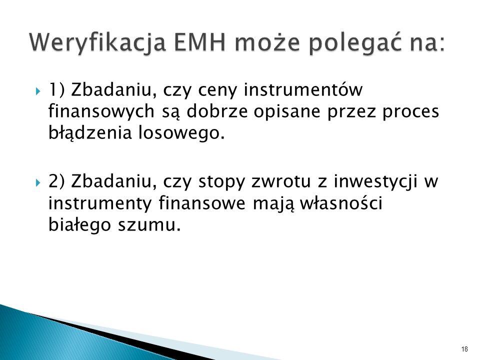 1) Zbadaniu, czy ceny instrumentów finansowych są dobrze opisane przez proces błądzenia losowego. 2) Zbadaniu, czy stopy zwrotu z inwestycji w instrum
