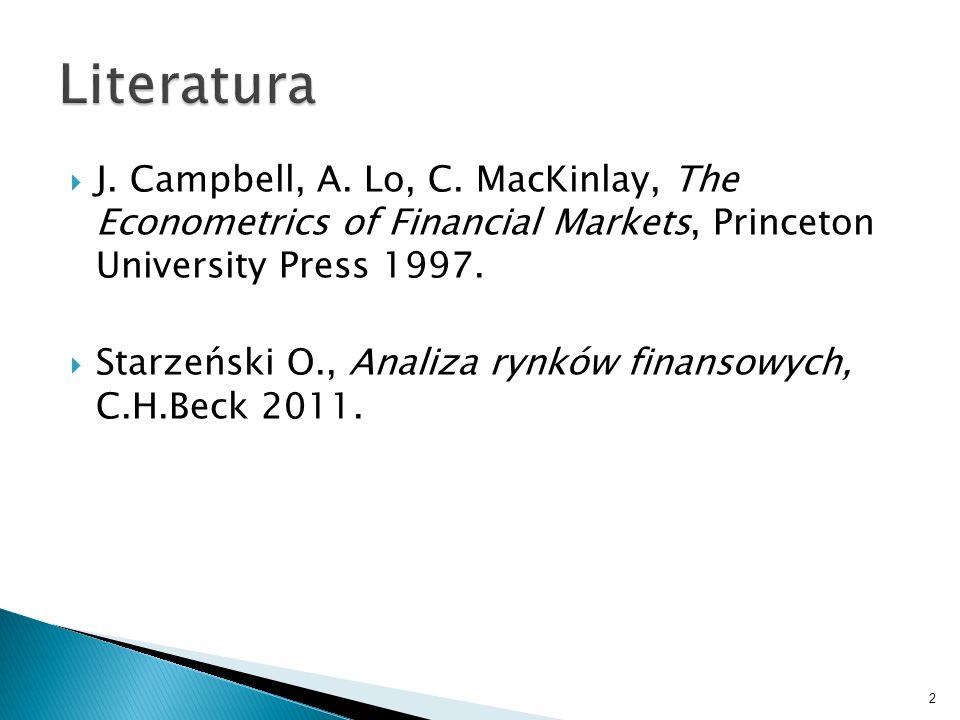 J. Campbell, A. Lo, C. MacKinlay, The Econometrics of Financial Markets, Princeton University Press 1997. Starzeński O., Analiza rynków finansowych, C