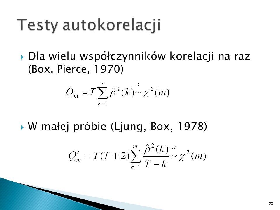 Dla wielu współczynników korelacji na raz (Box, Pierce, 1970) W małej próbie (Ljung, Box, 1978) 28