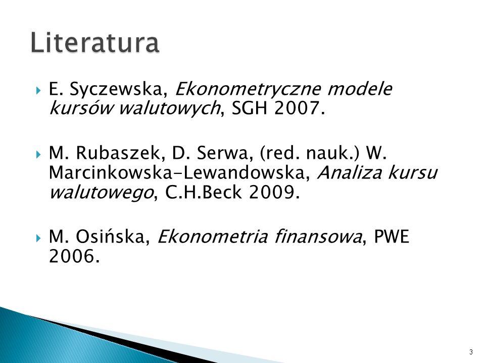 E. Syczewska, Ekonometryczne modele kursów walutowych, SGH 2007. M. Rubaszek, D. Serwa, (red. nauk.) W. Marcinkowska-Lewandowska, Analiza kursu waluto