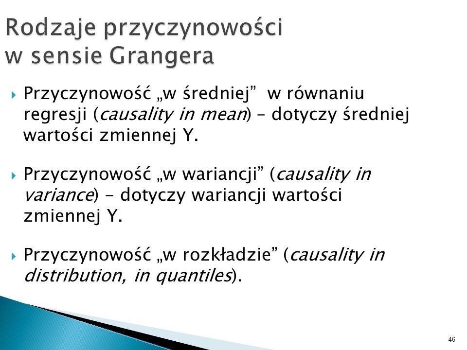 46 Rodzaje przyczynowości w sensie Grangera Przyczynowość w średniej w równaniu regresji (causality in mean) – dotyczy średniej wartości zmiennej Y. P