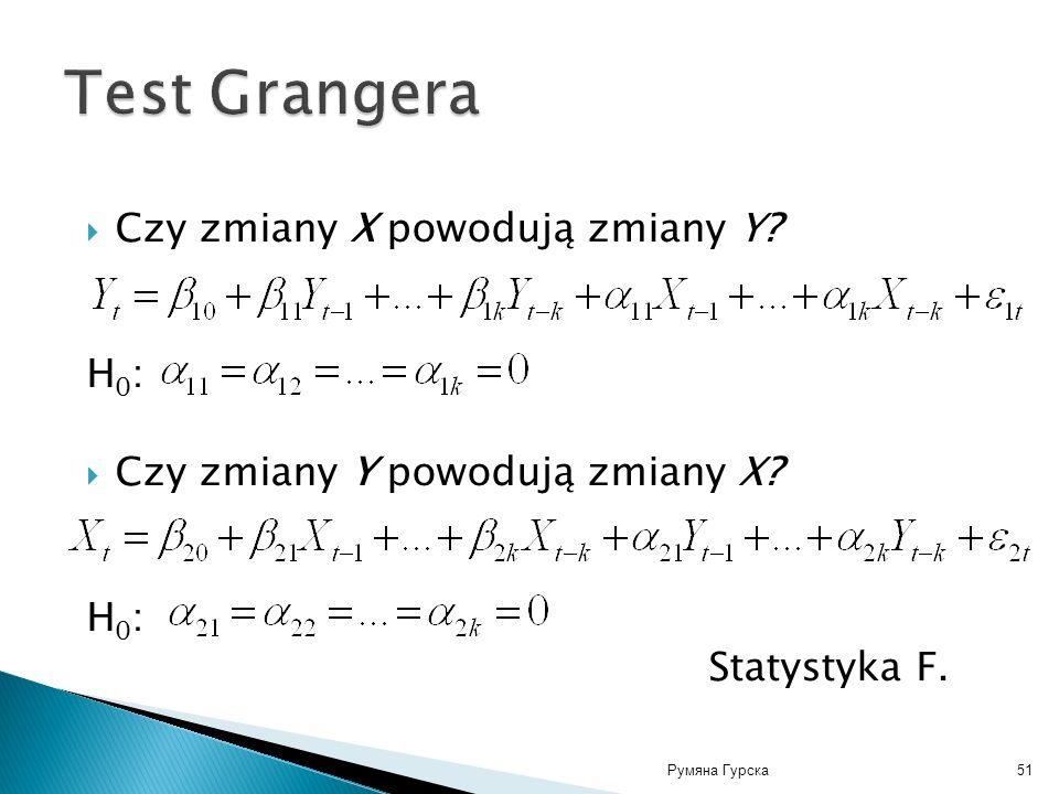 Румяна Гурска51 Czy zmiany X powodują zmiany Y? Н 0 : Czy zmiany Y powodują zmiany X? Н 0 : Statystyka F.