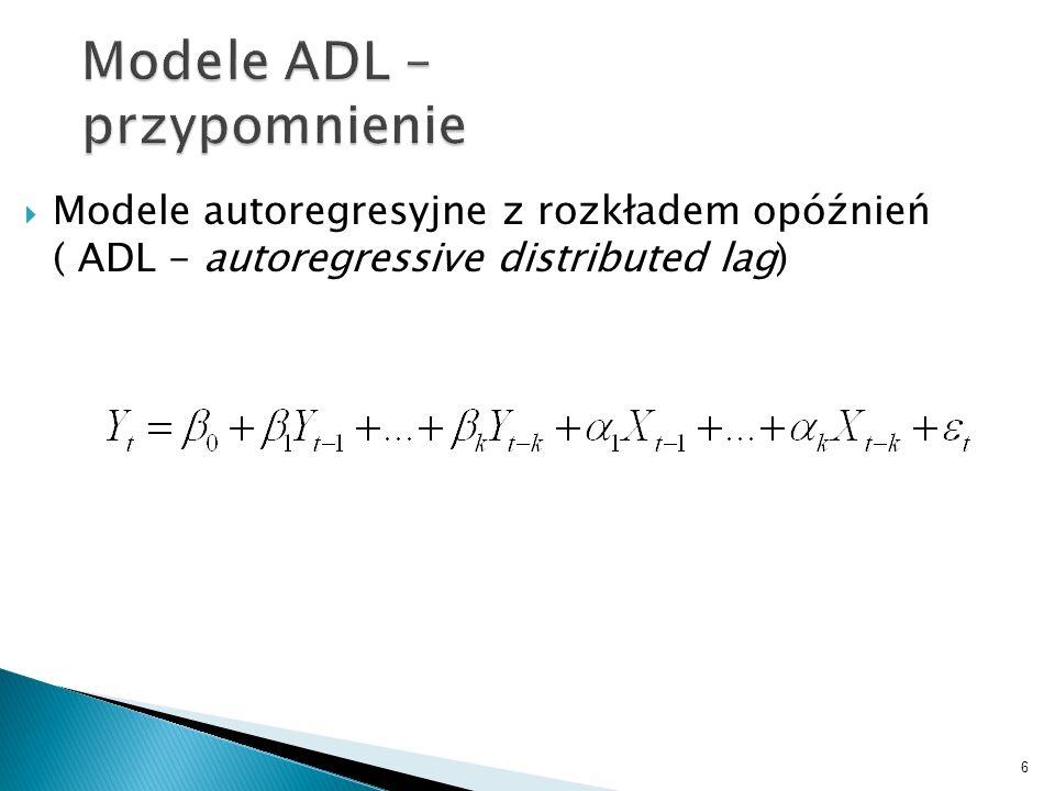 6 Modele ADL – przypomnienie Modele autoregresyjne z rozkładem opóźnień ( ADL - autoregressive distributed lag)