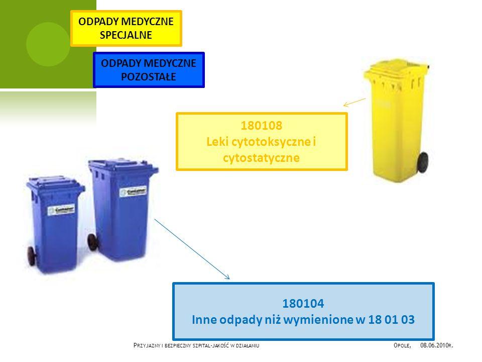 180104 Inne odpady niż wymienione w 18 01 03 180108 Leki cytotoksyczne i cytostatyczne ODPADY MEDYCZNE SPECJALNE ODPADY MEDYCZNE POZOSTAŁE P RZYJAZNY I BEZPIECZNY SZPITAL - JAKOŚĆ W DZIAŁANIU O POLE, 08.06.2010 R.