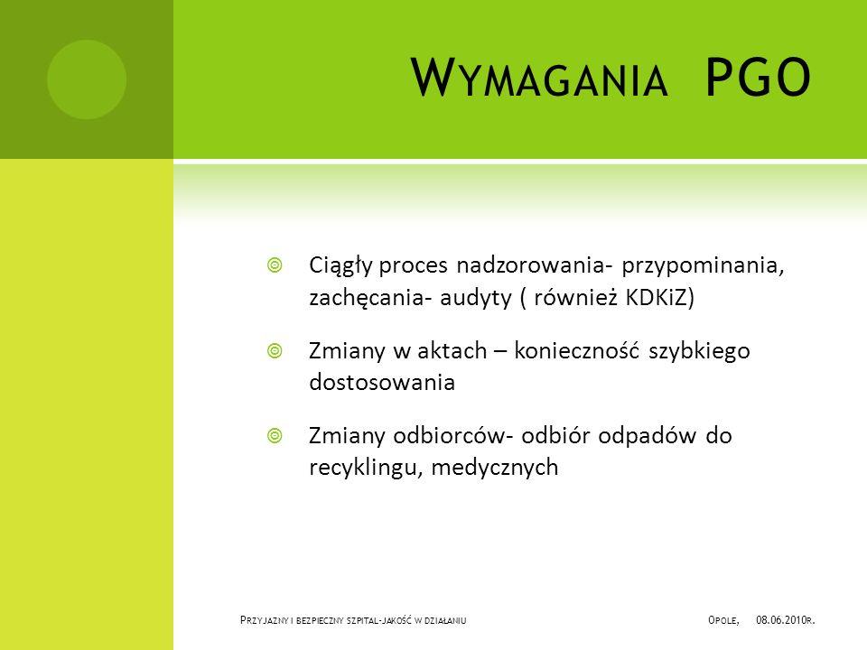 W YMAGANIA PGO Ciągły proces nadzorowania- przypominania, zachęcania- audyty ( również KDKiZ) Zmiany w aktach – konieczność szybkiego dostosowania Zmiany odbiorców- odbiór odpadów do recyklingu, medycznych P RZYJAZNY I BEZPIECZNY SZPITAL - JAKOŚĆ W DZIAŁANIU O POLE, 08.06.2010 R.