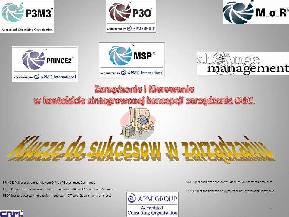 2 PRINCE2 w praktyce Metodyka PRINCE2: 2009 ® Przyszłość Integracyjna Metodyk Biznesowe korzyści z zastosowania PRINCE2 i MSP Przewodnik P2MM Think PRINCE2 Przewodniki studyjne Przewodniki kieszonkowe Formularze Praktyczne instrukcje Studia przypadków P3O® P3M3® PRINCE2 i DSDM-ATERN MSP® M_o_R® ITIL® Zarządzanie Zmianą Zarządzanie Portfelami Zmian z zastosowaniem MSP i PRINCE2 MoV® MoP® Champs2® Obashi®