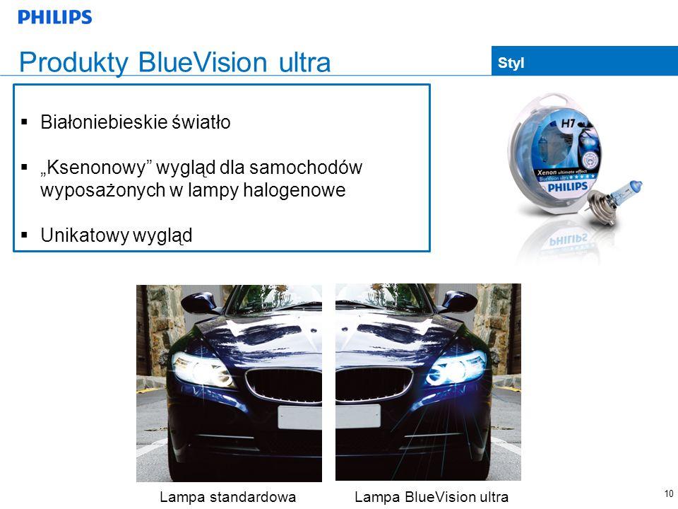 10 Produkty BlueVision ultra Lampa standardowa Lampa BlueVision ultra Styl Białoniebieskie światło Ksenonowy wygląd dla samochodów wyposażonych w lamp