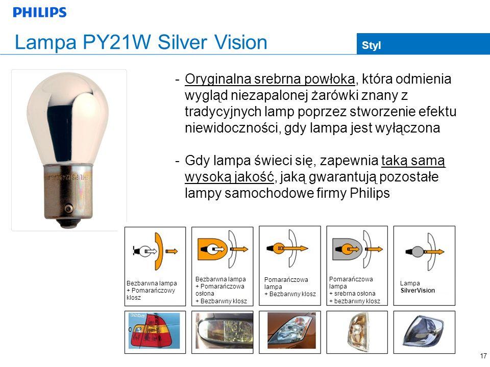 17 -Oryginalna srebrna powłoka, która odmienia wygląd niezapalonej żarówki znany z tradycyjnych lamp poprzez stworzenie efektu niewidoczności, gdy lam