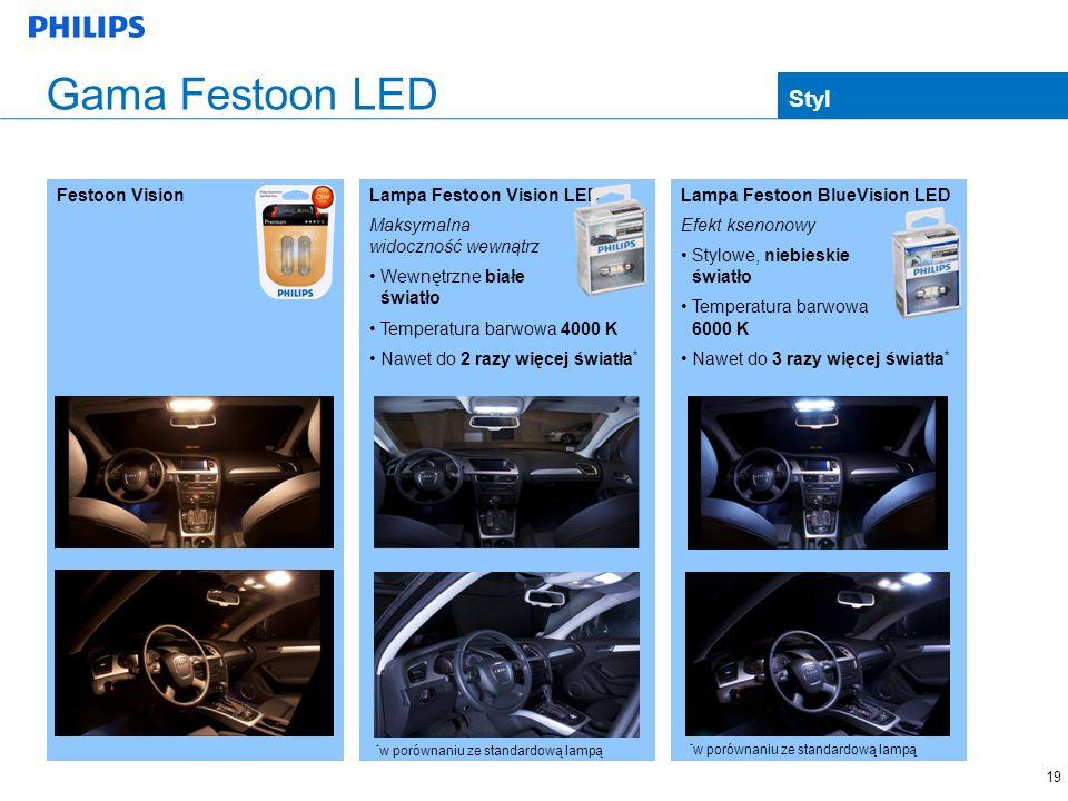 19 Lampa Festoon BlueVision LED Efekt ksenonowy Stylowe, niebieskie światło Temperatura barwowa 6000 K Nawet do 3 razy więcej światła * Festoon Vision