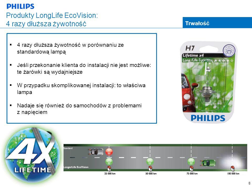 8 Produkty LongLife EcoVision: 4 razy dłuższa żywotność Trwałość 4 razy dłuższa żywotność w porównaniu ze standardową lampą Jeśli przekonanie klienta