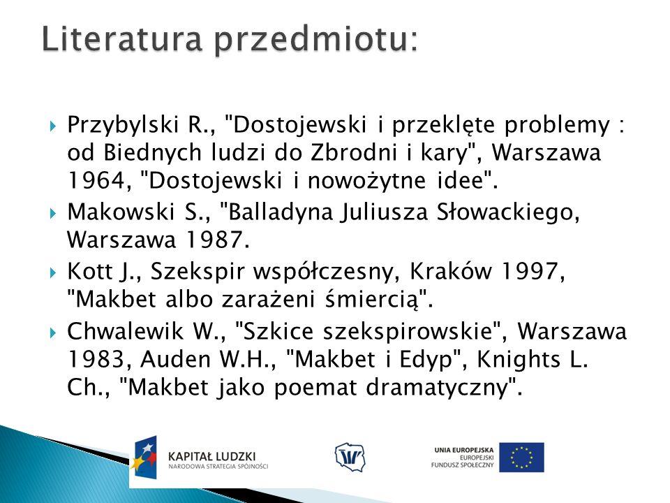 Przybylski R., Dostojewski i przeklęte problemy : od Biednych ludzi do Zbrodni i kary , Warszawa 1964, Dostojewski i nowożytne idee .