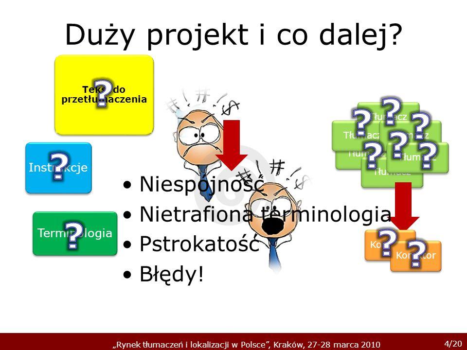 4/20 Rynek tłumaczeń i lokalizacji w Polsce, Kraków, 27-28 marca 2010 Duży projekt i co dalej.