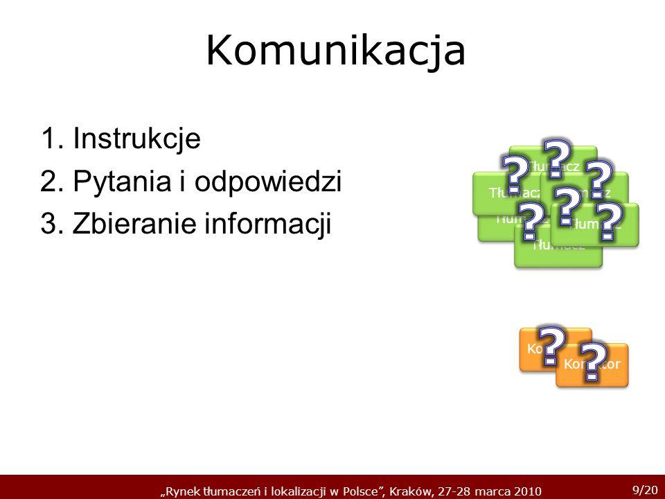 9/20 Rynek tłumaczeń i lokalizacji w Polsce, Kraków, 27-28 marca 2010 Komunikacja 1.