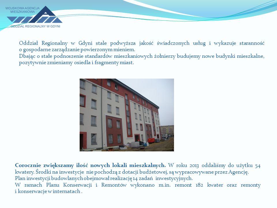 Oddział Regionalny w Gdyni stale podwyższa jakość świadczonych usług i wykazuje staranność o gospodarne zarządzanie powierzonym mieniem. Dbając o stał