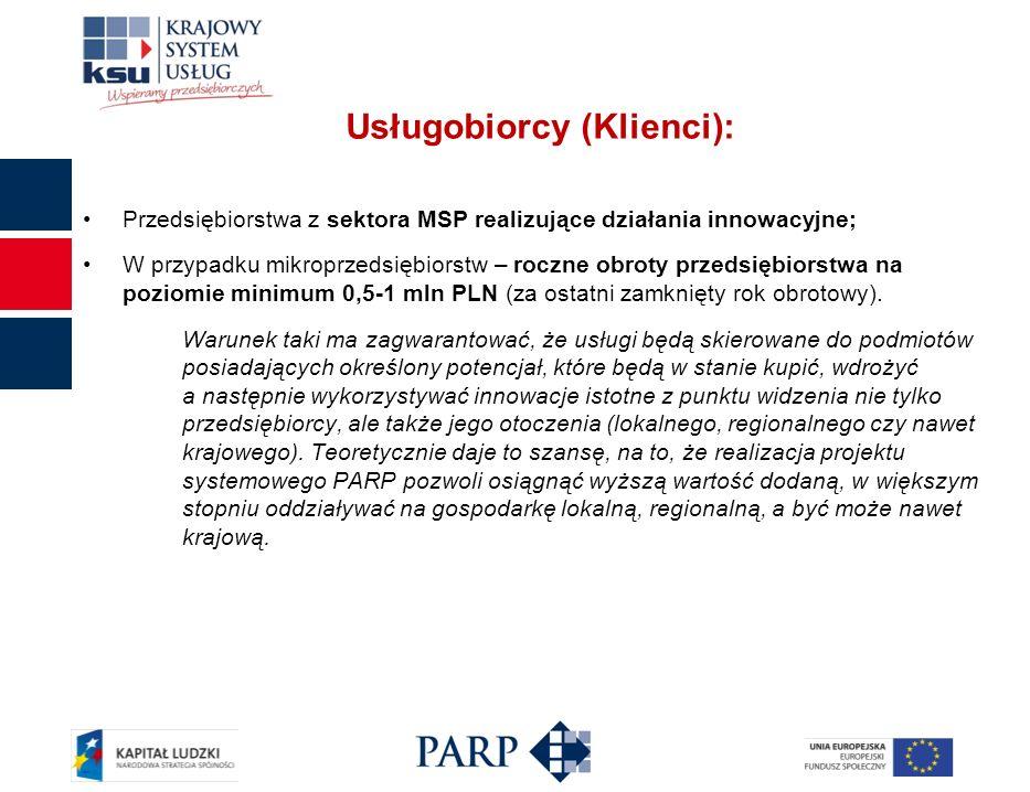 Usługobiorcy (Klienci): Przedsiębiorstwa z sektora MSP realizujące działania innowacyjne; W przypadku mikroprzedsiębiorstw – roczne obroty przedsiębiorstwa na poziomie minimum 0,5-1 mln PLN (za ostatni zamknięty rok obrotowy).