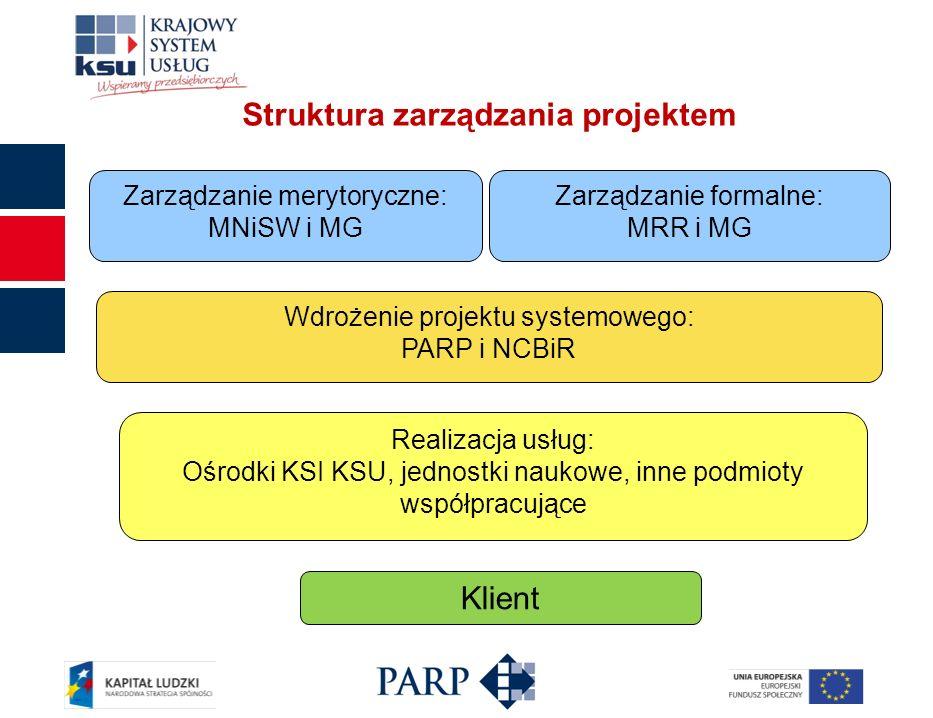 Struktura zarządzania projektem Zarządzanie merytoryczne: MNiSW i MG Zarządzanie formalne: MRR i MG Klient Realizacja usług: Ośrodki KSI KSU, jednostki naukowe, inne podmioty współpracujące Wdrożenie projektu systemowego: PARP i NCBiR