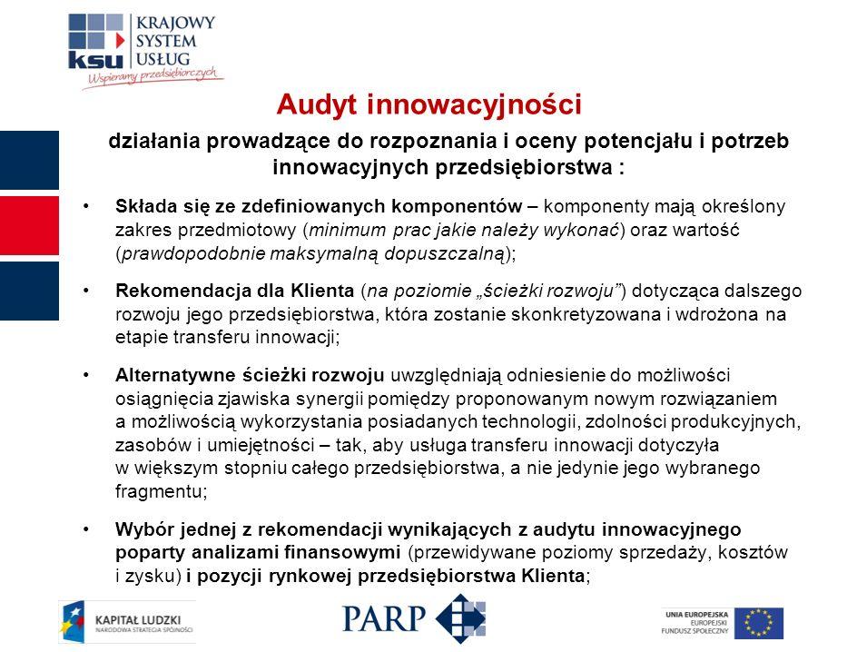 Audyt innowacyjności działania prowadzące do rozpoznania i oceny potencjału i potrzeb innowacyjnych przedsiębiorstwa : Składa się ze zdefiniowanych ko