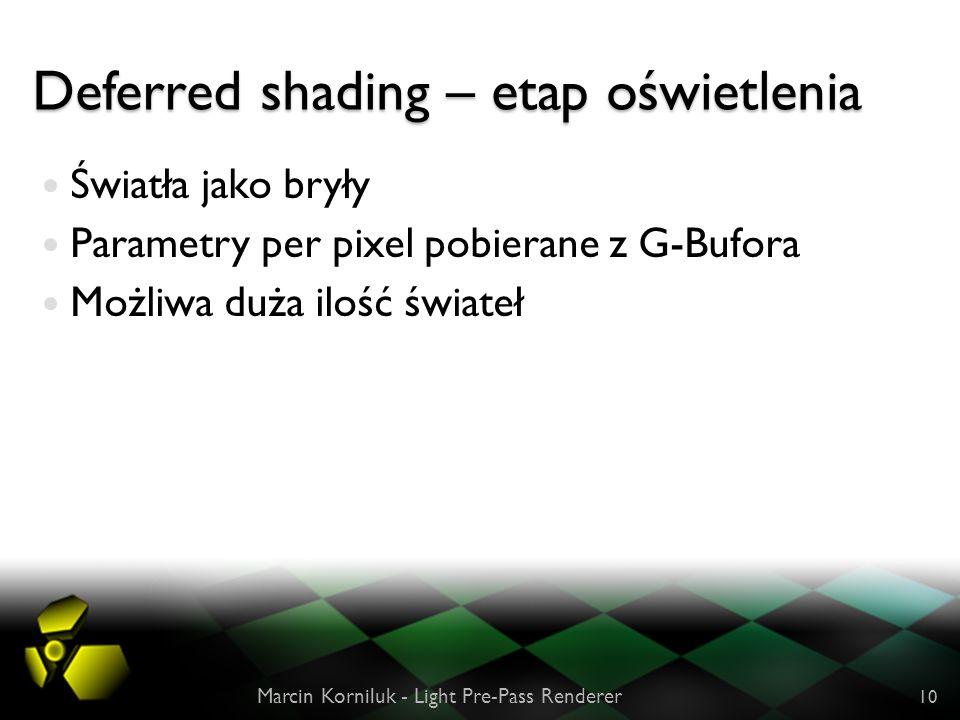 Deferred shading – etap oświetlenia Światła jako bryły Parametry per pixel pobierane z G-Bufora Możliwa duża ilość świateł Marcin Korniluk - Light Pre