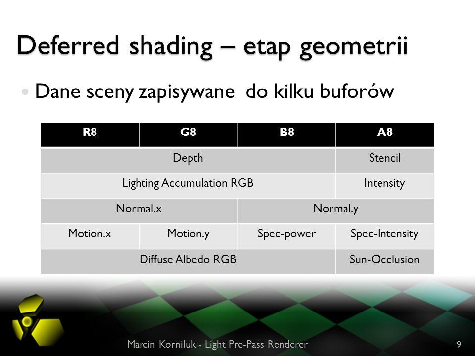 Deferred shading – etap geometrii Dane sceny zapisywane do kilku buforów Marcin Korniluk - Light Pre-Pass Renderer 9 R8G8B8A8 DepthStencil Lighting Ac