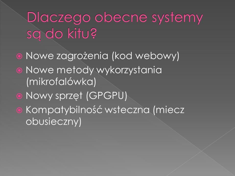 Nowe zagrożenia (kod webowy) Nowe metody wykorzystania (mikrofalówka) Nowy sprzęt (GPGPU) Kompatybilność wsteczna (miecz obusieczny)