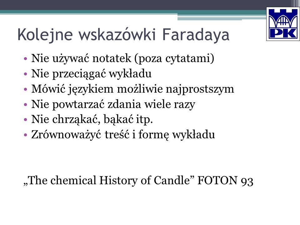 Kolejne wskazówki Faradaya Nie używać notatek (poza cytatami) Nie przeciągać wykładu Mówić językiem możliwie najprostszym Nie powtarzać zdania wiele r