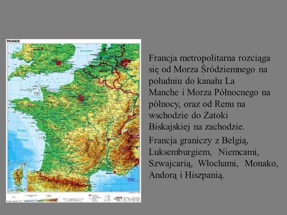 Francja metropolitarna rozciąga się od Morza Śródziemnego na południu do kanału La Manche i Morza Północnego na północy, oraz od Renu na wschodzie do