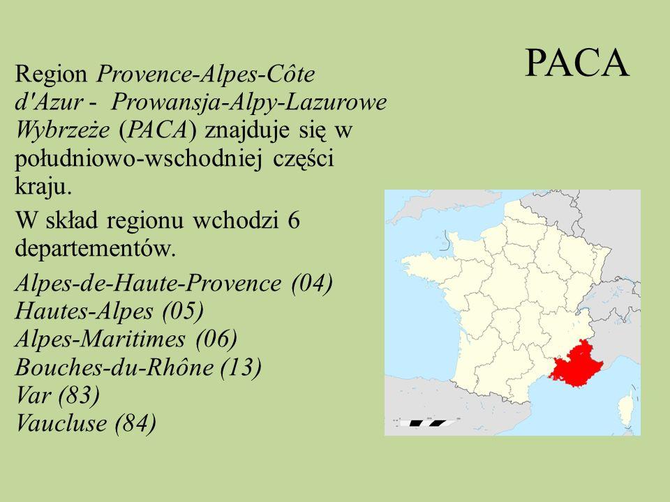 PACA Region Provence-Alpes-Côte d'Azur - Prowansja-Alpy-Lazurowe Wybrzeże (PACA) znajduje się w południowo-wschodniej części kraju. W skład regionu wc