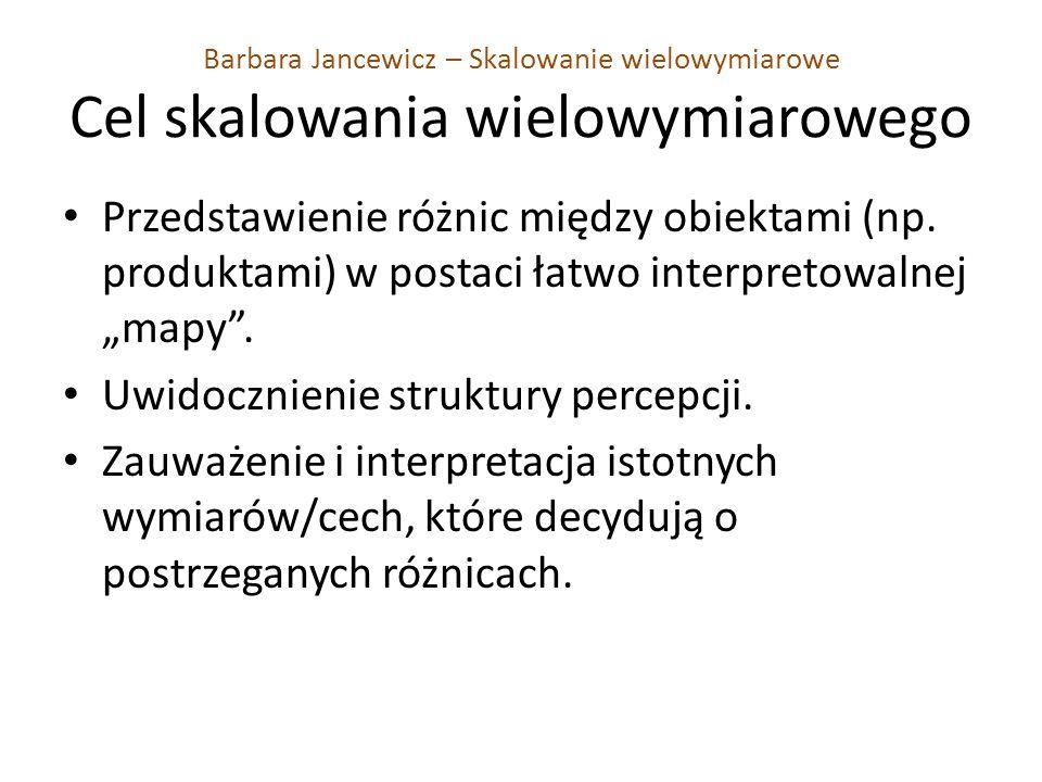 Barbara Jancewicz – Skalowanie wielowymiarowe Cel skalowania wielowymiarowego Przedstawienie różnic między obiektami (np. produktami) w postaci łatwo