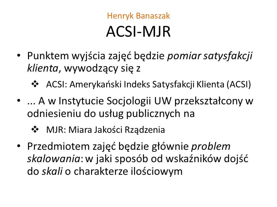 Henryk Banaszak ACSI-MJR Punktem wyjścia zajęć będzie pomiar satysfakcji klienta, wywodzący się z ACSI: Amerykański Indeks Satysfakcji Klienta (ACSI)...