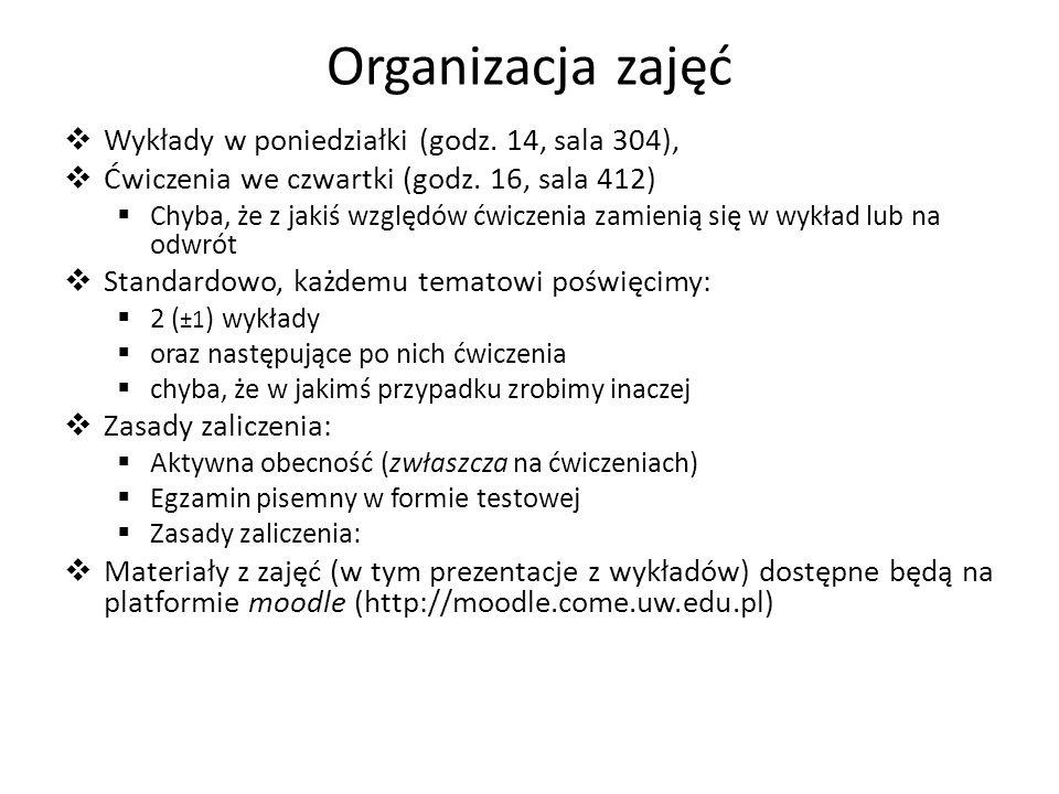 Organizacja zajęć Wykłady w poniedziałki (godz.14, sala 304), Ćwiczenia we czwartki (godz.