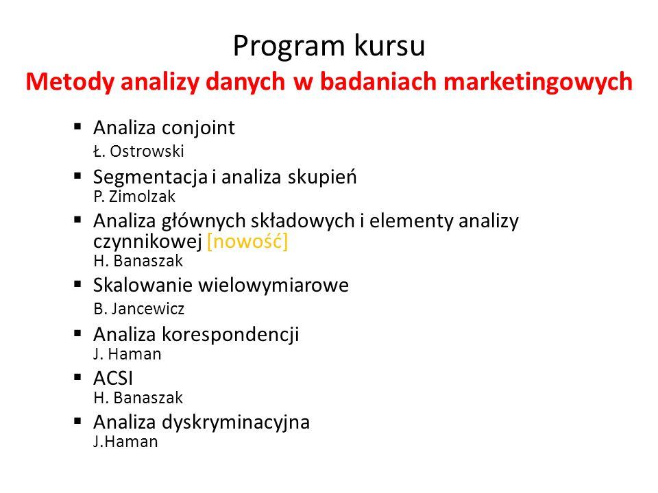 Program kursu Metody analizy danych w badaniach marketingowych Analiza conjoint Ł. Ostrowski Segmentacja i analiza skupień P. Zimolzak Analiza głównyc