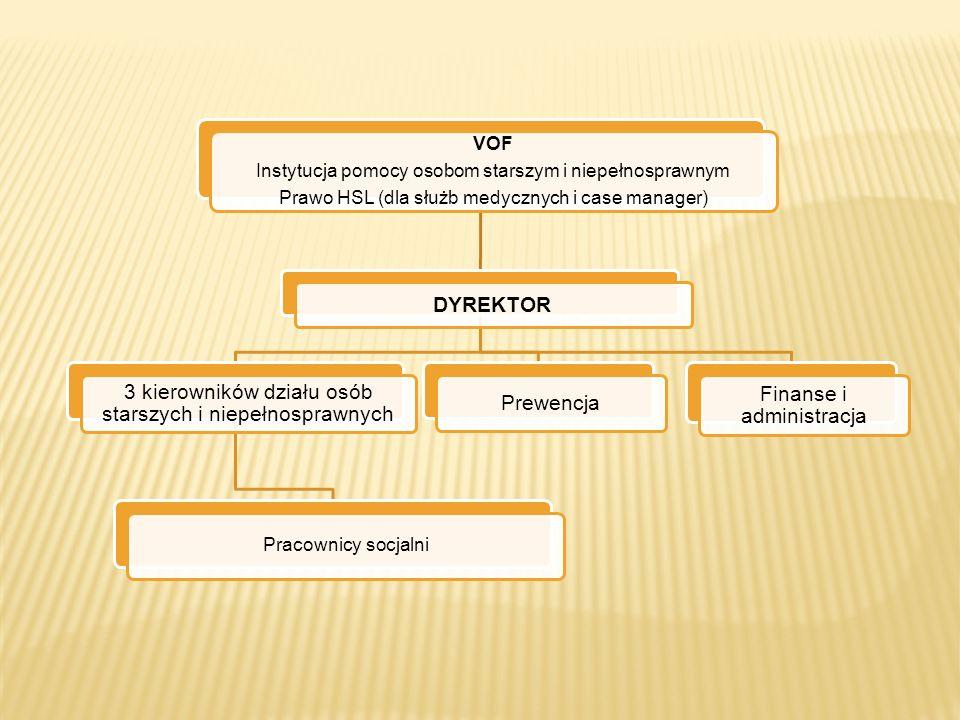 VOF Instytucja pomocy osobom starszym i niepełnosprawnym Prawo HSL (dla służb medycznych i case manager) DYREKTOR 3 kierowników działu osób starszych i niepełnosprawnych Pracownicy socjalni Prewencja Finanse i administracja