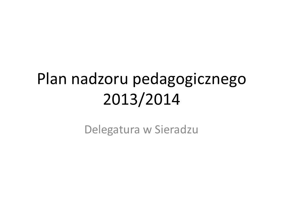 Plan nadzoru pedagogicznego 2013/2014 Delegatura w Sieradzu