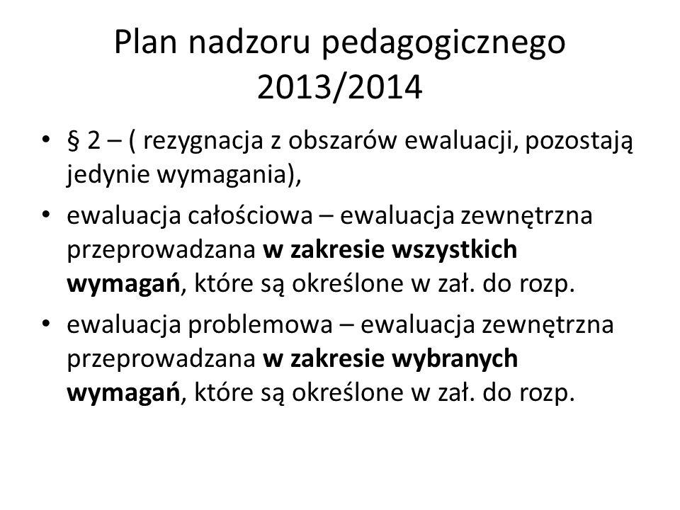 Plan nadzoru pedagogicznego 2013/2014 § 2 – ( rezygnacja z obszarów ewaluacji, pozostają jedynie wymagania), ewaluacja całościowa – ewaluacja zewnętrz