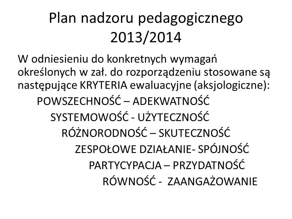 Plan nadzoru pedagogicznego 2013/2014 W odniesieniu do konkretnych wymagań określonych w zał. do rozporządzeniu stosowane są następujące KRYTERIA ewal